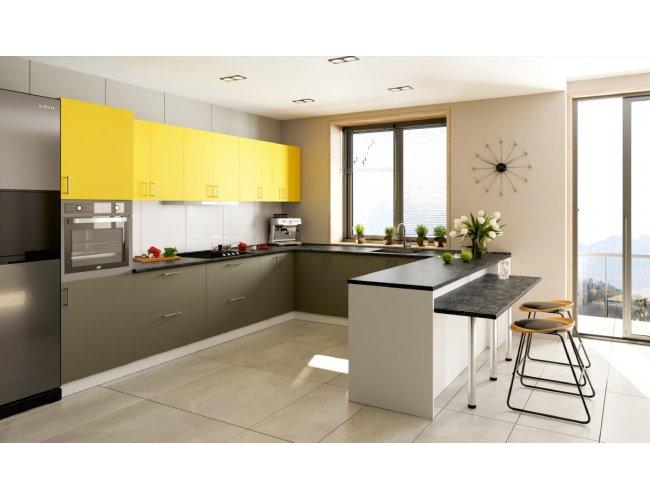 Кухня Феникс Сансет темный хаки супермат/желтый супермат