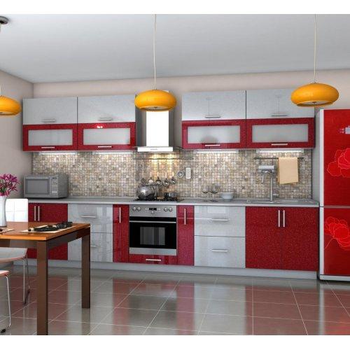 Кухня Гарант Гламур мдф серый металлик/бордо 140