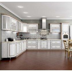 Кухня Гарант Платинум мдф белая структура в серебре
