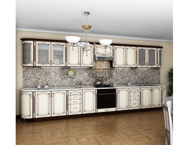 Кухня Гарант Платинум мдф ясень бежевый