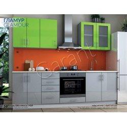Кухня Гарант Гламур лайм металик/серый металик
