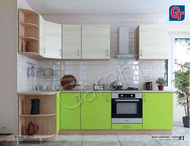 Кухня Гарант Горизонт ясень сенжный/лайм