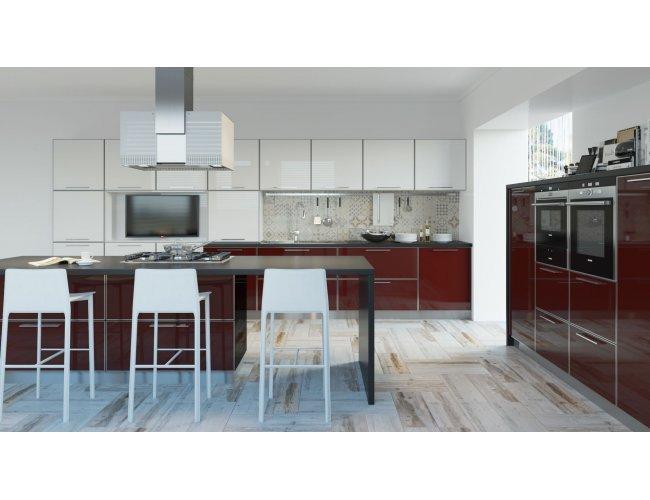 Кухня акрил Niemann глянец бордовый/белый