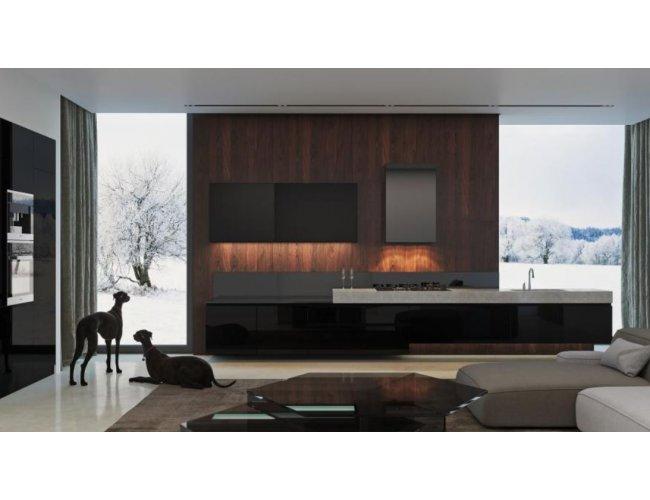 Кухня акрил Rauvisio Wave глянец черный/темно-серый/серый