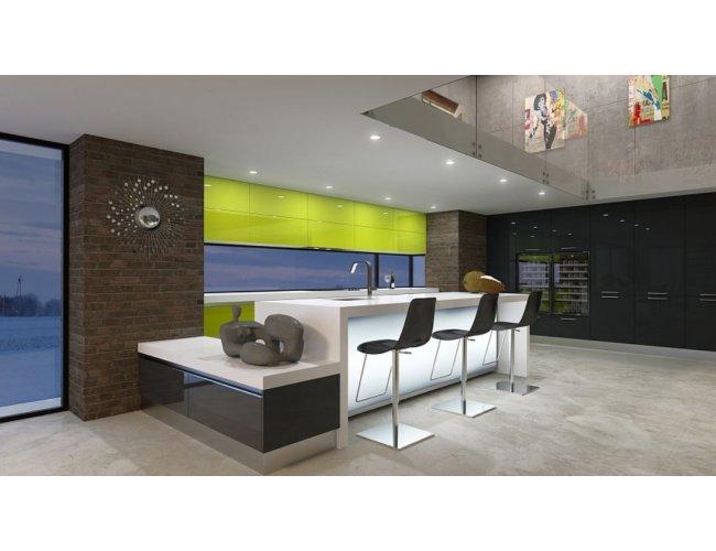 Кухня акрил Rauvisio Wave глянец салатовый/темно-серый
