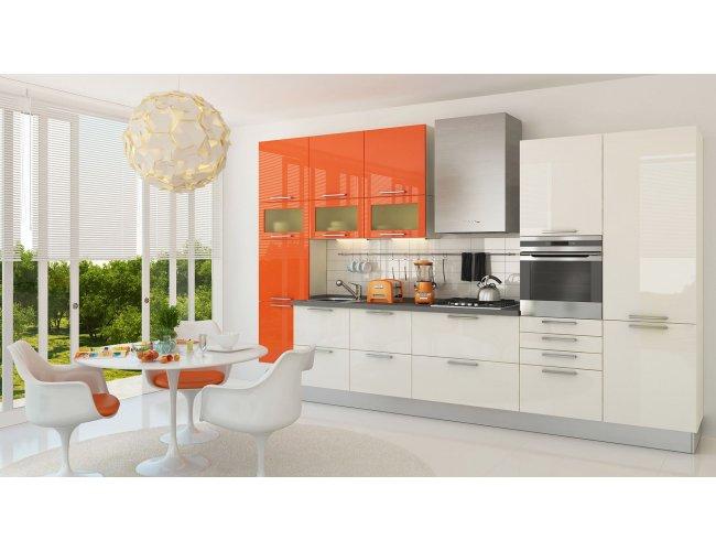 Кухня МДФ AGT глянец ваниль/оранж