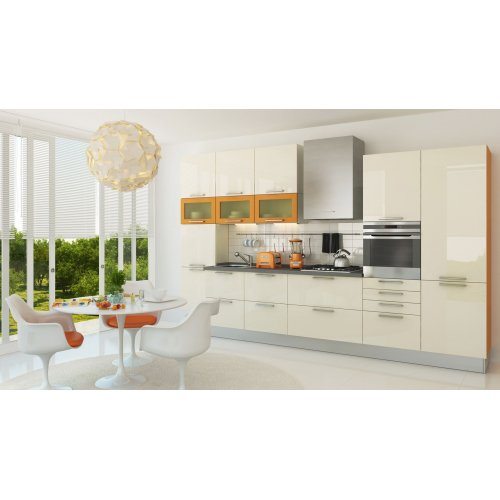 Кухня МДФ AGT ваниль глянец/оранж матовый