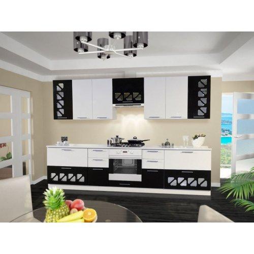 Кухня Свит Меблив Нана мдф белый глянец/черная галактика
