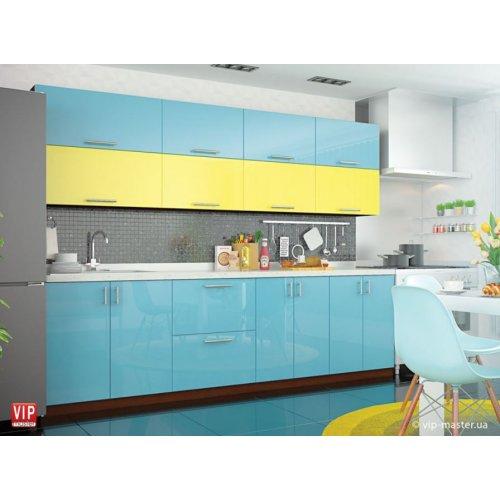 Кухня Vip Master Color-mix мдф желтый/голубой