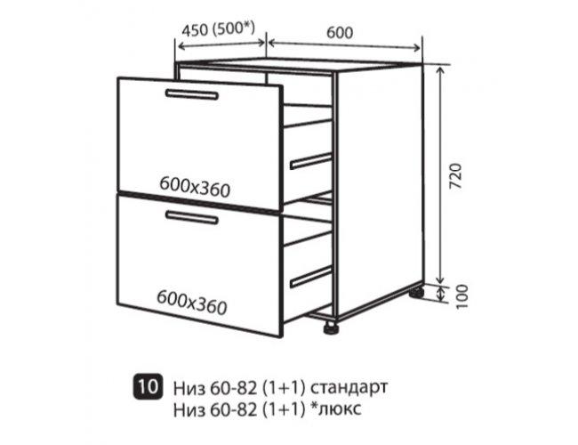 Кухонный модуль VM Maxima низ 10 ящики 600*820*450