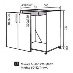 Кухонный модуль VM Maxima низ 13 мойка 600*820*450