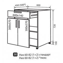 Кухонный модуль VM Moda низ 30 600*820*450