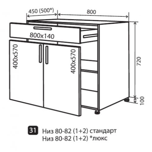 Кухонный модуль VM Альбина низ 31 800*820*450