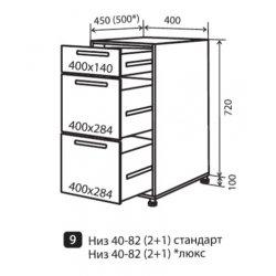 Кухонный модуль VM Альбина низ 9 ящики 400*820*450