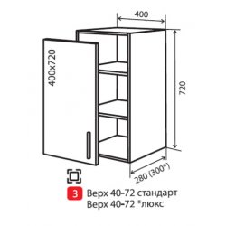 Кухонный модуль VM Moda верх 3 400*720*280