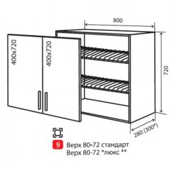 Кухонный модуль VM Альбина верх 9 сушка 800*720*280