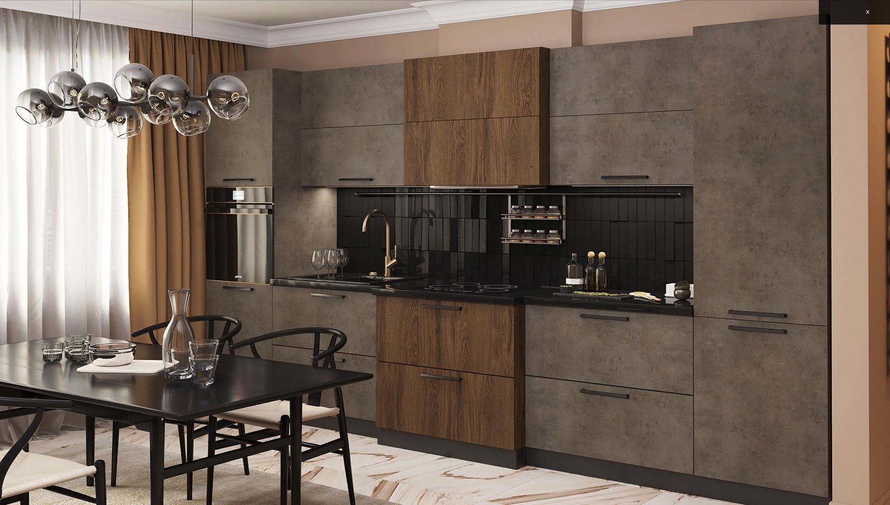 Кухни темный бетон гостиная дерево бетон